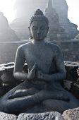 Buddha Meditating At Borobudur, Jogjakarta Indonesia