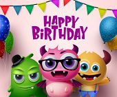 Happy Birthday Vector Concept Design. Cute Little Monsters Creature Characters And Happy Birthday Te poster