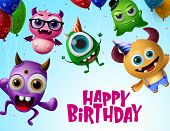 Happy Birthday With Monster Characters Vector Design. Happy Birthday Text In Flying Little Monsters  poster