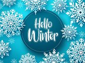 Hello Winter Vector Greeting Banner Template. Snowflakes With Hello Winter Text And Space For Messag poster