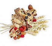 Healthy granola muesli isolated on white background