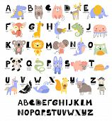 Funny Alphabet For Young Children With Names And Pictures Of Animals Assigned To Each Letter. Learni poster