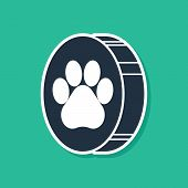 Blue Paw Print Icon Isolated On Green Background. Dog Or Cat Paw Print. Animal Track. Vector Illustr poster