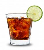 Cola drink in glass, isolated on white background