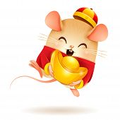 The Little Rat With Chinese Gold - Ingot. Chinese New Year. Year Of The Rat. poster