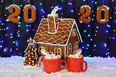The Hand-made Eatable Gingerbread House, Marshmallow Little Man In Mag,  New Year Tree, 2020 Inscrip poster