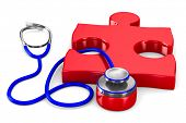 Stethoscope and puzzle on white background. Isolated 3D image