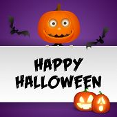 Happy Halloween Postcard Design With Funny Pumpkin Head And Flying Bats On Purple Background. Letter poster