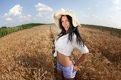 Cute sexy joyful young woman in summer golden field