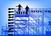 drawing of building structures and worker on dais