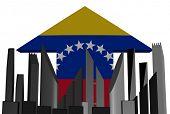 abstract skyline and Venezuelan flag arrow illustration