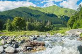 Mountain River Valley Landscape. Mountain Valley River Panorama. Mountain River Flow. poster