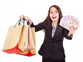 stock photo of fantail  - Woman with  money Russian rouble and shopping bag - JPG