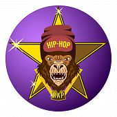 Monkey, Gorilla Star Of Hip-hop Music. Hip Hop Rapper Gorilla Head In Hat. Image For Printing On T-s poster