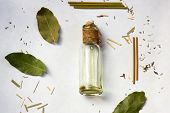Spa Setting Treatment Concept, Spa Background. Spa Massage Oil In A Bottle. poster
