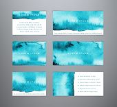 Set Of Abstract Horizontal Blue Watercolor Templates. Sea Watercolor Backgrounds. Templates For Bann poster