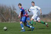 KAPOSVAR, HUNGARY - MARCH 17: Marton Lorentz (blue) in action at the Hungarian National Championship