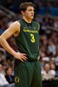 LOS ANGELES - MARCH 10: Oregon Ducks G Garrett Sim #3 during the NCAA Pac-10 Tournament basketball g