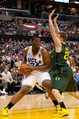 LOS ANGELES - MARCH 10: UCLA Bruins C Joshua Smith #34 & Oregon Ducks F E.J. Singler #25 during the