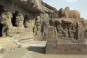 pic of ellora  - Ancient Hindu Temple carved out of solid rock Ellora Caves near Aurangabad India - JPG