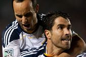 CARSON, CA. - MAY 14: Los Angeles Galaxy F Landon Donovan #10 (L) & Los Angeles Galaxy F Juan Pablo