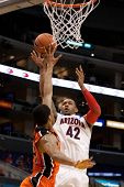 LOS ANGELES - MARCH 10: Arizona Wildcats F Jamelle Horne #42 & Oregon State Beavers F Devon Collier