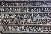 image of ellora  - Hindu religious story carved into the rock face at the ancient Temple  - JPG