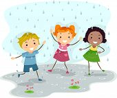 foto of dancing rain  - Illustration of Kids Playing in the Rain - JPG