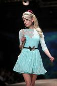 ZAGREB, CROATIA - MARCH 23: Fashion model wears clothes made by ELFS on