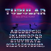 Vector 80s Retro Futurism Style Font, With Futuristic Violet Sun And People Gaze On It. Tubular Font poster