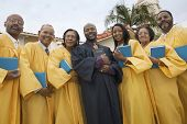 stock photo of ecclesiastical clothing  - Preacher and Choir - JPG