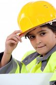 Young boy in a construction costume