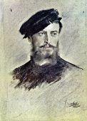 USSR - CIRCA 1972: Postcard printed in the USSR shows draw by Franz von Lenbach (1836-1904)