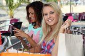 Two girls shopping