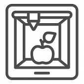 3d Food Printing Line Icon. 3d Apple Print Vector Illustration Isolated On White. 3d Meal Printing O poster