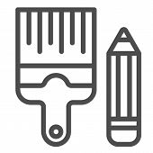 Pencil And Brush Line Icon. Drawing Tools Vector Illustration Isolated On White. Paint And Draw Outl poster