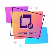 Purple Transfer Files Icon Isolated On White Background. Copy Files, Data Exchange, Backup, Pc Migra poster