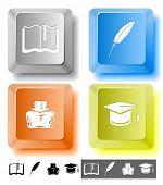 Bildung Symbolsatz. Graduation Cap, Buch, Fall, Feder. Computerschlüssel. Raster-Abbildung.