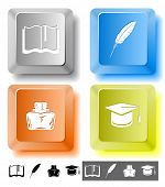 Education icon set. Graduation cap, book, inkstand, feather. Computer keys. Raster illustration.
