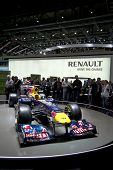 GENEVA SWITZERLAND - MARCH 12: The Renault Stand displaying the 2011 Redbull Racing F1 Car at the Ge