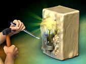 A man is sculpting a block of stone into a light bulb. Digital illustration.