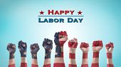 Labor Day Celebration Concept With Usa National Flag On American People Clenched Fist Hand For Unite poster