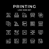Set Line Icons Of Print Isolated On Black. Vector Illustration poster