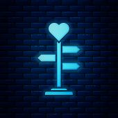 Glowing Neon Road Traffic Sign. Signpost With Heart Icon Isolated On Brick Wall Background. Isolated poster