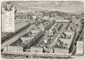Hospice-des-Menages old bird-eye view, Issy, France. Created by Fichot, published on L'Illustration, Journal Universel, Paris, 1863