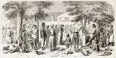 Dutch Guyana (at present days Suriname): clothes distribution to slaves workers in plantations, old illustration. Created by Worms, published on L'Illustration, Journal Universel, Paris, 1863