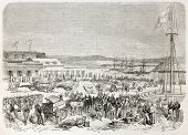 French intervention in Mexico: French troops encampment in Tampico main square. Created by Worms, pu