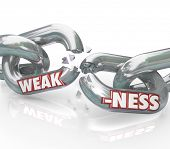 The word Weakness on breaking, weak chain links symbolizing a lack of strength and ability, being vu