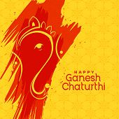 Hindu Lord Ganesha Festival Greeting Background Vector Illustration poster