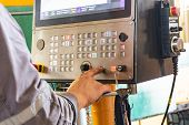 The Cnc Operator Writes A Program To Control The Metal Processing Machine. Management Of The Machini poster